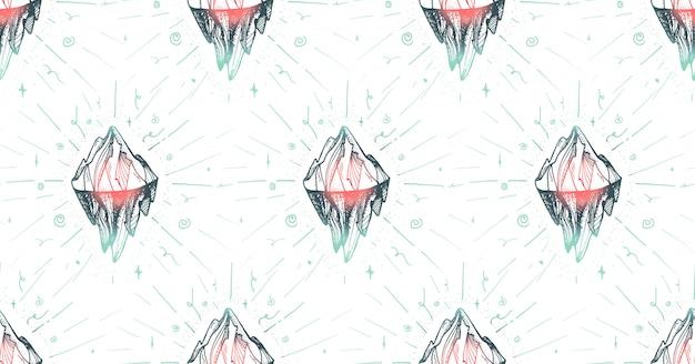 Modèle sans couture de montagne inspirante pour l'impression