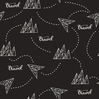 Modèle sans couture avec les montagnes et les lettres de voyage. illustration vectorielle