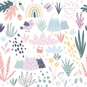 Modèle sans couture avec montagnes plantes cactus nuages et autres éléments. illustration dessinée à la main mignonne