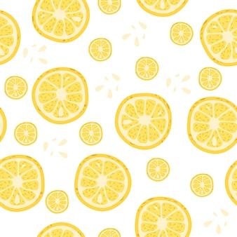 Modèle sans couture avec des morceaux de citron.