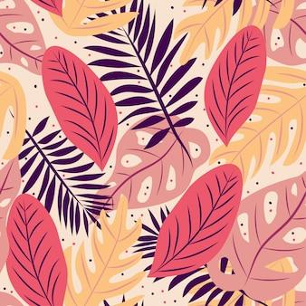Modèle sans couture de motif de feuilles tropicales lumineuses
