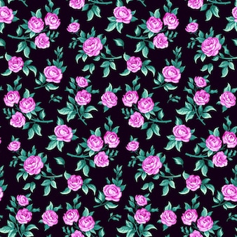 Modèle sans couture avec motif floral vintage