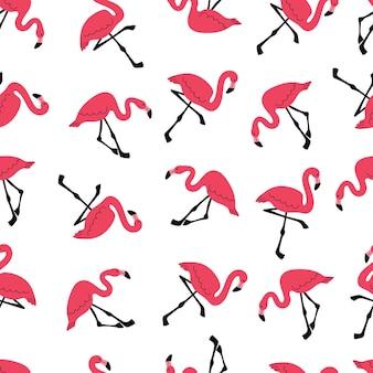 Modèle sans couture avec motif de plage de flamant rose avec des oiseaux exotiques dessin animé plat de vecteur stock