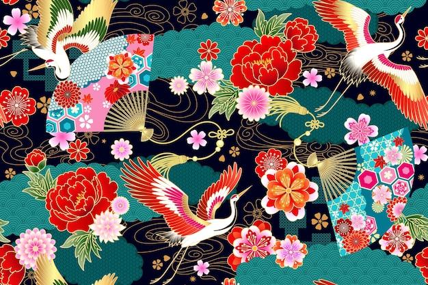 Modèle sans couture avec des motifs floraux et des grues