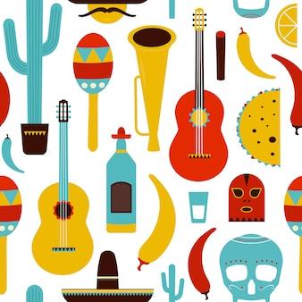 Modèle sans couture de motley mexique avec des articles mexicains traditionnels