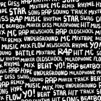 Modèle sans couture avec des mots sur le thème du rappeur. mots rap, musique, beat, battle, hit, underground, mix et autres. illustration de brosse à encre dessinée à la main sur fond noir