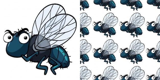 Modèle sans couture avec mouche domestique