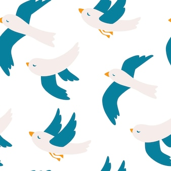 Modèle sans couture avec mouettes. modèle sans couture d'oiseau mouette mignon. motif d'oiseaux en vol. vacances d'été. bon pour l'impression. illustration vectorielle doodle art comique, style minimal.