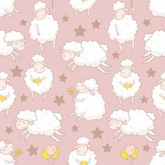 Modèle sans couture de moutons dessin animé dessinés à la main