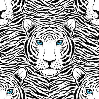Modèle sans couture avec museau de tigre sur fond rayé.