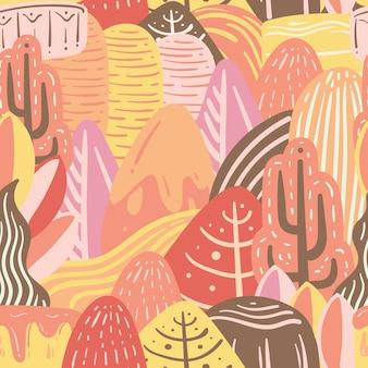 Modèle sans couture de nature colorée doodle