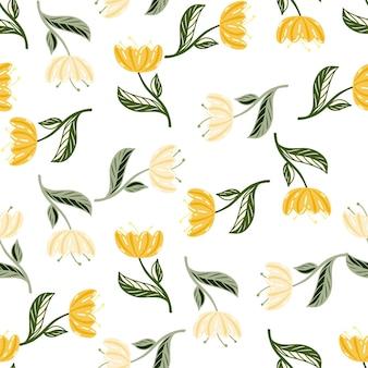 Modèle sans couture de nature d'été avec des éléments de fleurs de pavot jaune