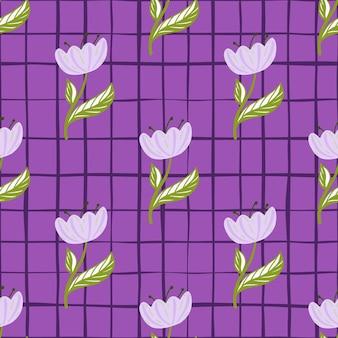 Modèle sans couture de nature saisonnière de printemps avec des silhouettes simples de fleurs de pavot