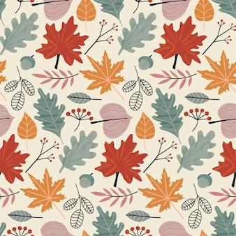 Modèle sans couture naturel automne coloré de vecteur avec des feuilles d'automne et des baies