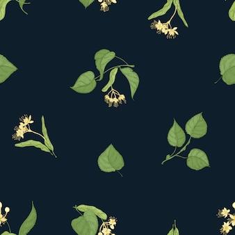 Modèle sans couture naturel avec des brins de tilleul en fleurs dessinés à la main sur fond noir