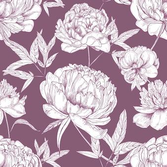 Modèle sans couture naturel avec des fleurs de pivoine tendre dessinés à la main avec des lignes de contour sur rose