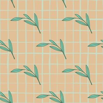 Modèle sans couture naturel avec ornement de branches de feuilles botaniques de contour