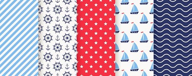 Modèle sans couture nautique et marin. illustration. arrière-plans de la mer.