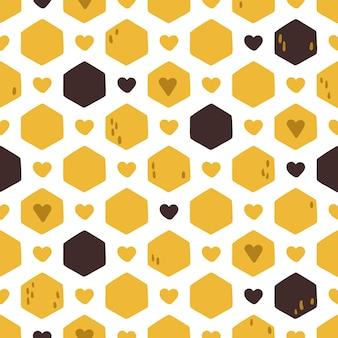 Modèle sans couture en nid d'abeille, dessin animé.