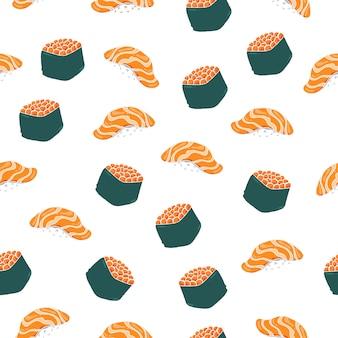 Modèle sans couture de nigiri sushi.
