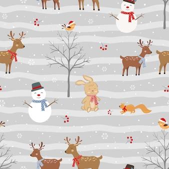 Modèle sans couture de noël avec des animaux mignons et bonhomme de neige sur fond d'hiver, illustration vectorielle