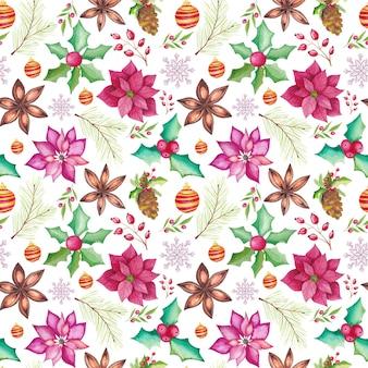 Modèle sans couture de noël aquarelle avec des éléments saisonniers traditionnels aquarelles. poinsettia, boules, sapin, anis étoilé