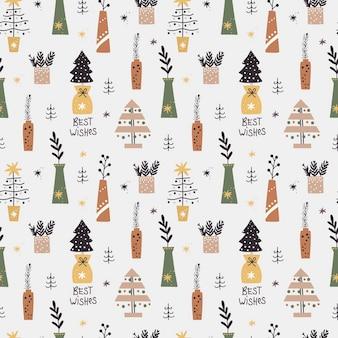 Modèle sans couture de noël avec des arbres de noël et des brindilles dans des vases