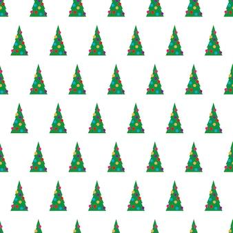 Modèle sans couture de noël avec des arbres de noël verts avec des jouets colorés, des boules et des guirlandes. illustration vectorielle