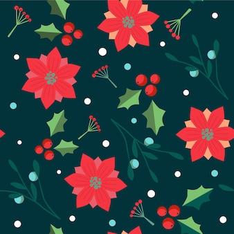 Modèle sans couture de noël avec des baies, des flocons de neige et des fleurs.