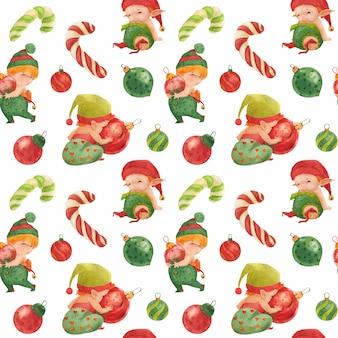Modèle sans couture de noël, bébés elfes avec des boules de verre et des cannes de bonbon