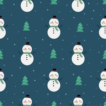 Modèle sans couture de noël avec bonhomme de neige isolé sur fond bleu