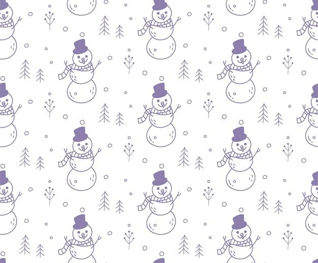 Modèle sans couture de noël bonhomme de neige
