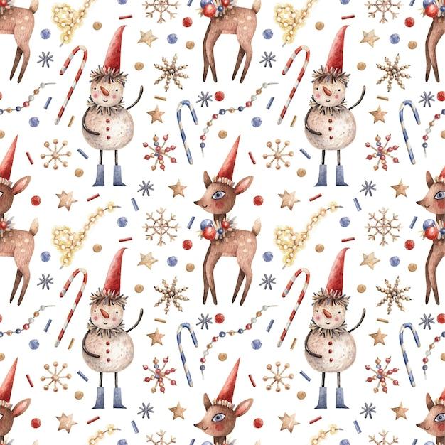 Modèle sans couture de noël avec bonhommes de neige, bonbons, cerfs et guirlandes.