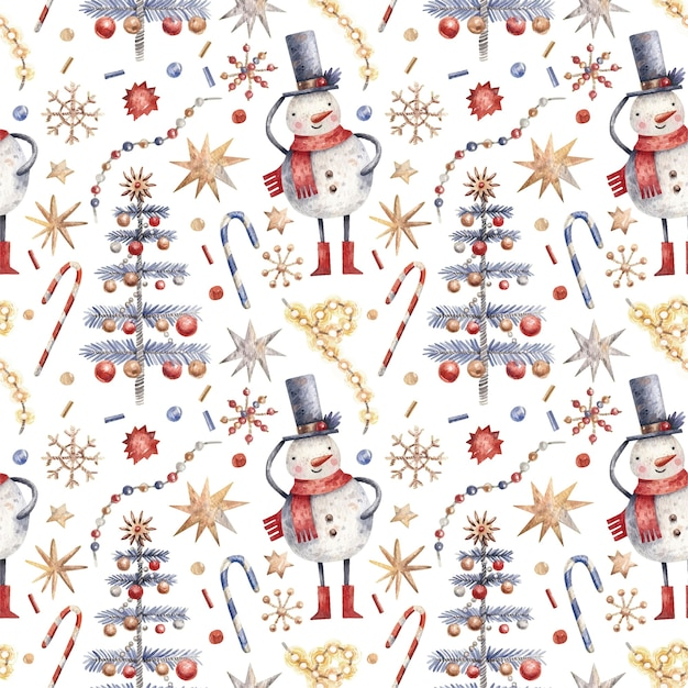 Modèle sans couture de noël avec bonhommes de neige, bonbons, flocons de neige et arbres.