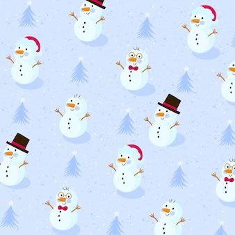 Modèle sans couture de noël avec des bonhommes de neige