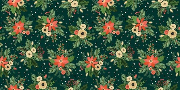 Modèle sans couture de noël et bonne année. arbre de noël, fleurs, baies. symboles du nouvel an.