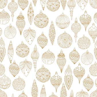 Modèle sans couture de noël avec des boules de sapin de noël illustration vectorielle de conception d'art dessiné à la main.