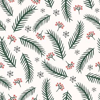 Modèle sans couture de noël avec des branches de pin