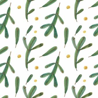 Modèle sans couture de noël branches vertes