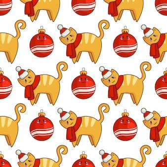 Modèle sans couture de noël avec un chat rouge kawaii ou un chaton habillé en bonnet de noel et écharpe, boules décoratives
