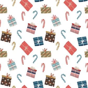 Modèle sans couture de noël avec coffrets cadeaux et bonbons