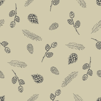 Modèle sans couture de noël avec des décorations d'arbre de noël, des branches de pin illustration vectorielle de conception d'art dessiné à la main.