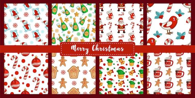 Modèle sans couture de noël défini bouvreuil du nouvel an kawaii, bonhomme de neige, canne en bonbon, homme de pain d'épice