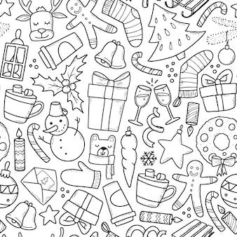 Modèle sans couture de noël avec doodle
