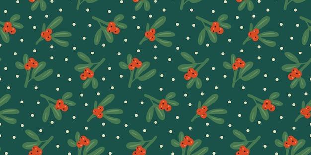 Modèle sans couture de noël et du nouvel an avec des flocons de neige de baies de houx de gui conception d'hiver