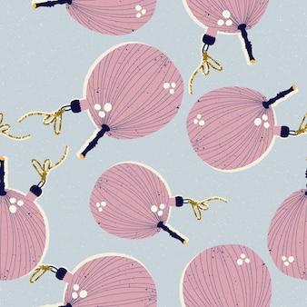 Modèle sans couture de noël et du nouvel an avec des jouets d'arbre de noël sous forme de figues en vecteur.