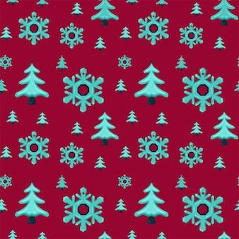 Modèle sans couture de noël avec du papier d'emballage cadeau de jouets d'arbre de noël de flocons de neige