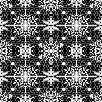 Modèle sans couture de noël avec des flocons de neige flocons de neige texture dentelle art abstrait toile de fond backg
