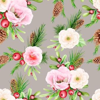 Modèle sans couture de noël floral aquarelle