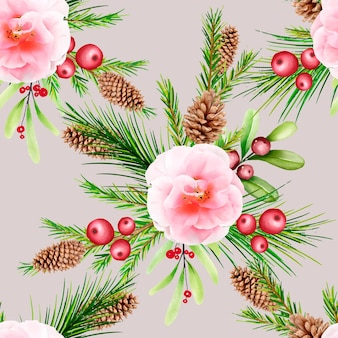 Modèle sans couture de noël floral dessiné à la main